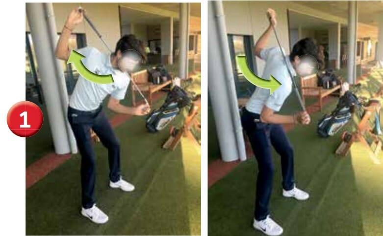 Étirement dynamique en position debout en dissociation du bas sur le haut. Le haut du corps, notamment les épaules, est fi xé par le maintien d'un club derrière la nuque. Seul le bas du corps bouge en rotation alternée.