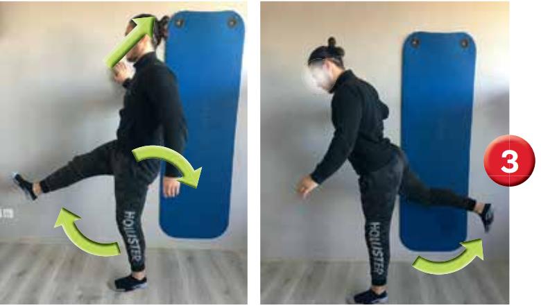Étirements dynamiques des chaînes antérieure et postérieure de membre inférieur. Le membre inférieur eff ectue comme un mouvement de « balancier » d'avant en arrière.